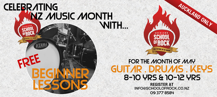Auckland School of Rock Free Lessons for May 2017