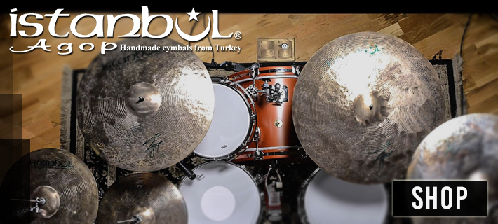 Birds eye view of a beautiful drum kit, fitted with Istanbul Cymbals in a sunny studio. Shop for Istanbul with us today.