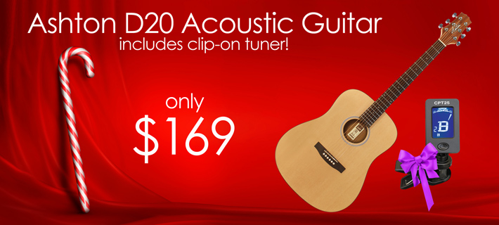 Ashton D20 Acoustic Guitar with Cip-on Tuner for Xmas!