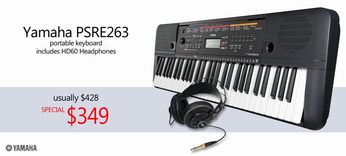 Yamaha PSRE263 with Ashton HD60 Headphones Package