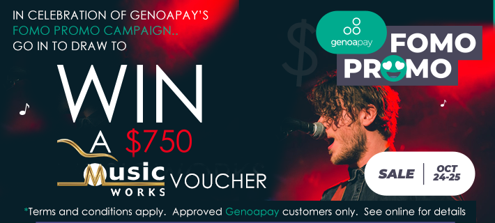 A musician surrounded by darkness promoting Genoapay's Birthday Prize Draw