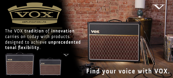 A vox amplifier in a room with bricks walls. Purchase with MusicWorks and find your voice with Vox.