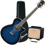 Ibanez AEG8 Acoustic Electric Guitar, T15 Acoustic Amplifier and Case, Trans Blue AEG8ETBS-T15-FS31CL