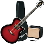 Ibanez AEG8 Acoustic Electric Guitar, T15 Acoustic Amplifier and Case, Trans Red AEG8ETRS-T15-FS31CL