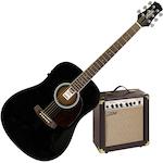 Ashton D20EQBK Acoustic Electric Guitar with AEA15 Amp D20EQBK-AEA15