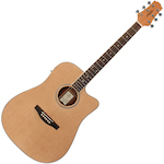 Ashton Solid Top Acoustic Electric Guitar, Matt Natural D46SCEQNTM