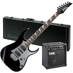 Ibanez GRG150DX Electric Guitar with Laney LX12 Amp and Case Package, Black Night GRG150DXBKN-W101RG-LX12