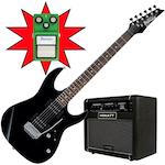 Ibanez GRX22 Electric Guitar, Hiwatt G208R and TS9, Black Night GRX22BKN-G208R-TS9