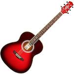 Ashton OM Shaped Acoustic Guitar, Trans Red OM24TRD