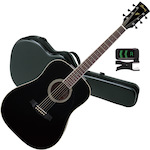 Ibanez PF15 with FX200AC Case and Tuner, Black PF15BK-FX200AC-PU30