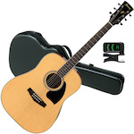 Ibanez PF15 with FX200AC Case and Tuner, Natural PF15NT-FX200AC-PU30