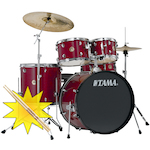 Tama Rhythm Mate Drum Kit with HT10S Throne and FREE Sticks, Wine Red RH52KH4CWR-HT10S