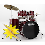 Tama RM Rhythm Mate Drum Kit with HT10S Throne and FREE Sticks, Red Stream RM52KH4CRDS-HT10S