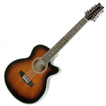 Ashton Slimline Acoustic Electric Guitar, 12 String, Tobacco Sunburst SL2912CEQTSB
