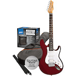 Ashton Electric Guitar Pack and Amp, Transparent Red SPAG232TRD