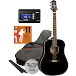 Ashton SPD25 Acoustic Pack in Black with Tuner and Strings SPD25BK-CT170-JK11