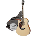 Ashton Electric Acoustic Guitar Pack, L/Hand, Natural SPD25CEQLNTM