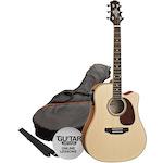 Ashton Electric Acoustic Guitar Pack, Natural Matt SPD25CEQNTM