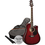 Ashton Electric Acoustic Guitar Pack, Wine Red SPD25CEQWRS