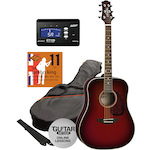 Ashton SPD25 Acoustic Pack in Wine Red with Tuner and Strings SPD25WRS-CT170-JK11