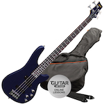 Ashton Bass Guitar Pack, Trans Dark Blue AB4TDB
