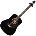 Ashton D2512 12 String Acoustic Guitar, Black D2512BK
