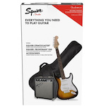 Squier Stratocaster Pack w/ Laurel Fingerboard (Brown Sunburst) w/ Bag & Frontman 10 FEN0371823332