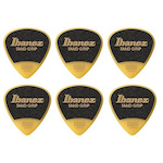 Ibanez 0.8mm Thickness Pick, Grip Wizard, Sand Grip, Polyacetal, Medium, 6 Pack, Yellow PPA16MSGYE