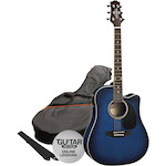 Ashton Electric Acoustic Guitar Pack, Trans Blue SPD25CEQTBB