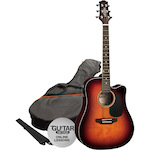 Ashton Electric Acoustic Guitar Pack, Tobacco Sunburst SPD25CEQTSB