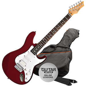 Ashton AG232 Electric Guitar Pack, Transparent Red