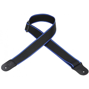 Levy's Guitar Strap, 2in Cott/Poly Black/Blue