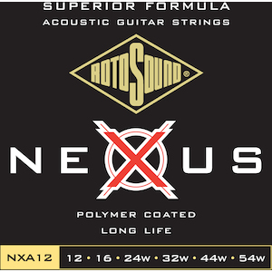 Rotosound 12-54 Nexus Coated Acoustic Guitar Strings, Phosphor Bronze
